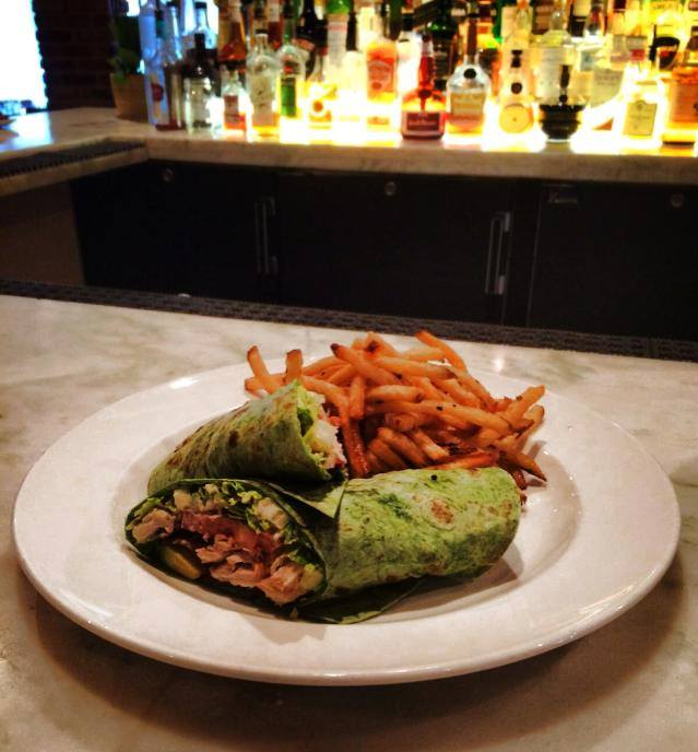 Spinach wrap and fries