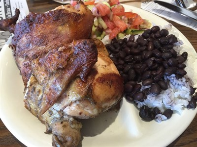 1/2 chicken with cucumber salad and rice-n-beans from Don Pollo