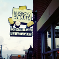 Busboys and Poets sign hangs over the Hyattsville Arts District.