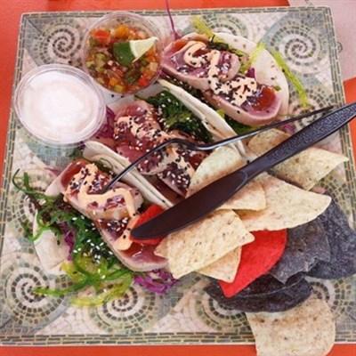 Enjoy Ahi Tacos from Fish Tales Bar & Grill.