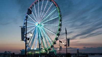 The Capital Wheel at National Harbor at dusk