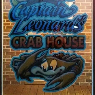 Capt. Leonard's Seafood Restaurant's sign.