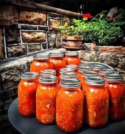 Jars of gazpacho