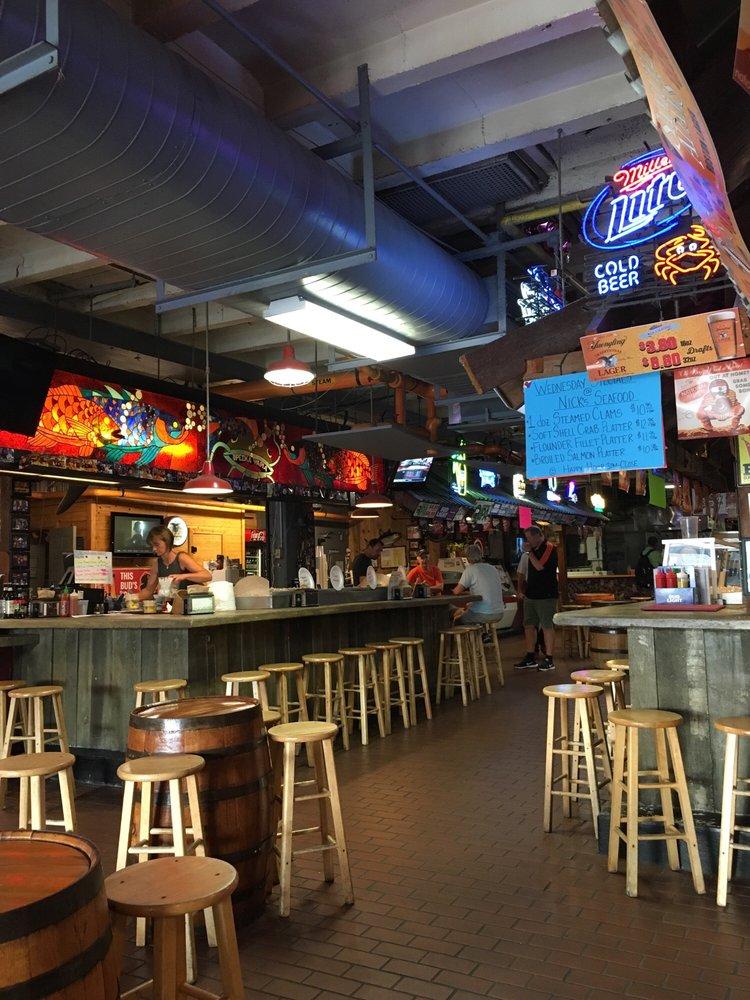 Nick's Oyster Bar inside of Cross Street Market