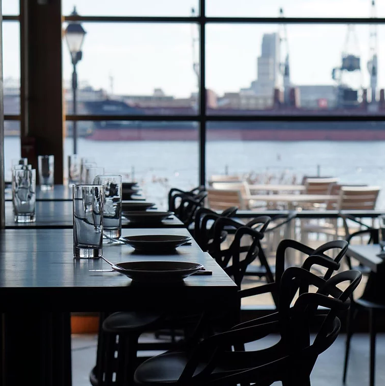 Waterfront view dining area at Ampersea Restaurant