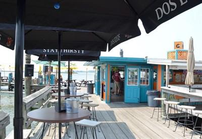 Deck view of Big Owl Grill & Tiki Bar