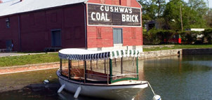 Photo of Cushwa's Coal and Brick warehouse along the Cushwa's Basin in Williamsport.