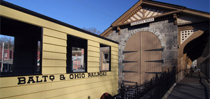 Photo of train at B&O Railroad Station in Ellicott City