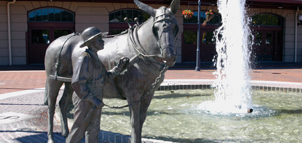Statue of boy and donkey