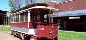 Old red streetcar