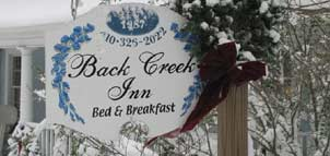 Back Creek Inn signage
