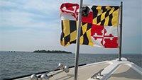 Photo of boat with Maryland Flag