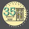 MAP 35th Year Anniversary logo