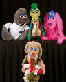Photo of Rufus the Rednosed Raindog puppets