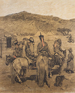 Breaking Camp, drawing by Willem Dooijewaard