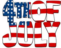 July 4th red, white, blue logo