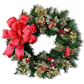 Image of a wreath decorated for Christmas