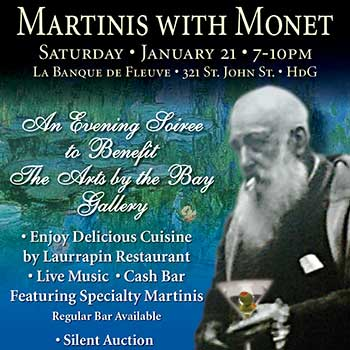Arts by the Bay Presents Martinis with Monet flyer