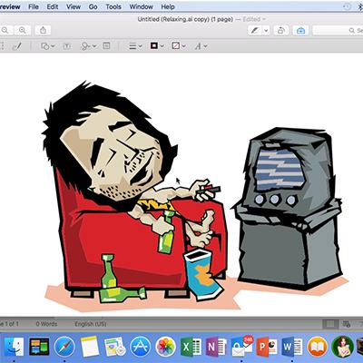 image of Caveman Watching TV