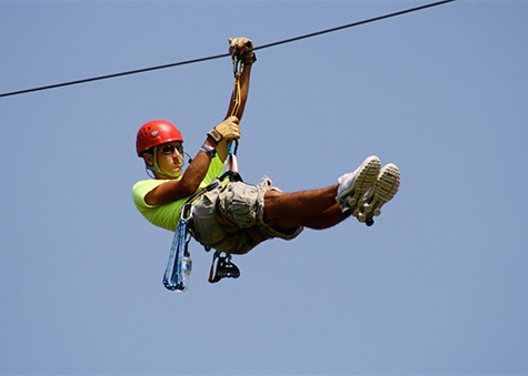 Photo of a person zipling