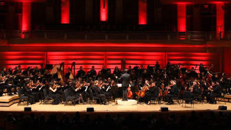 The Queen Symphony Orchestra on stage