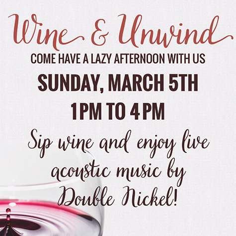 Wine and Unwind with Double Nickel flyer
