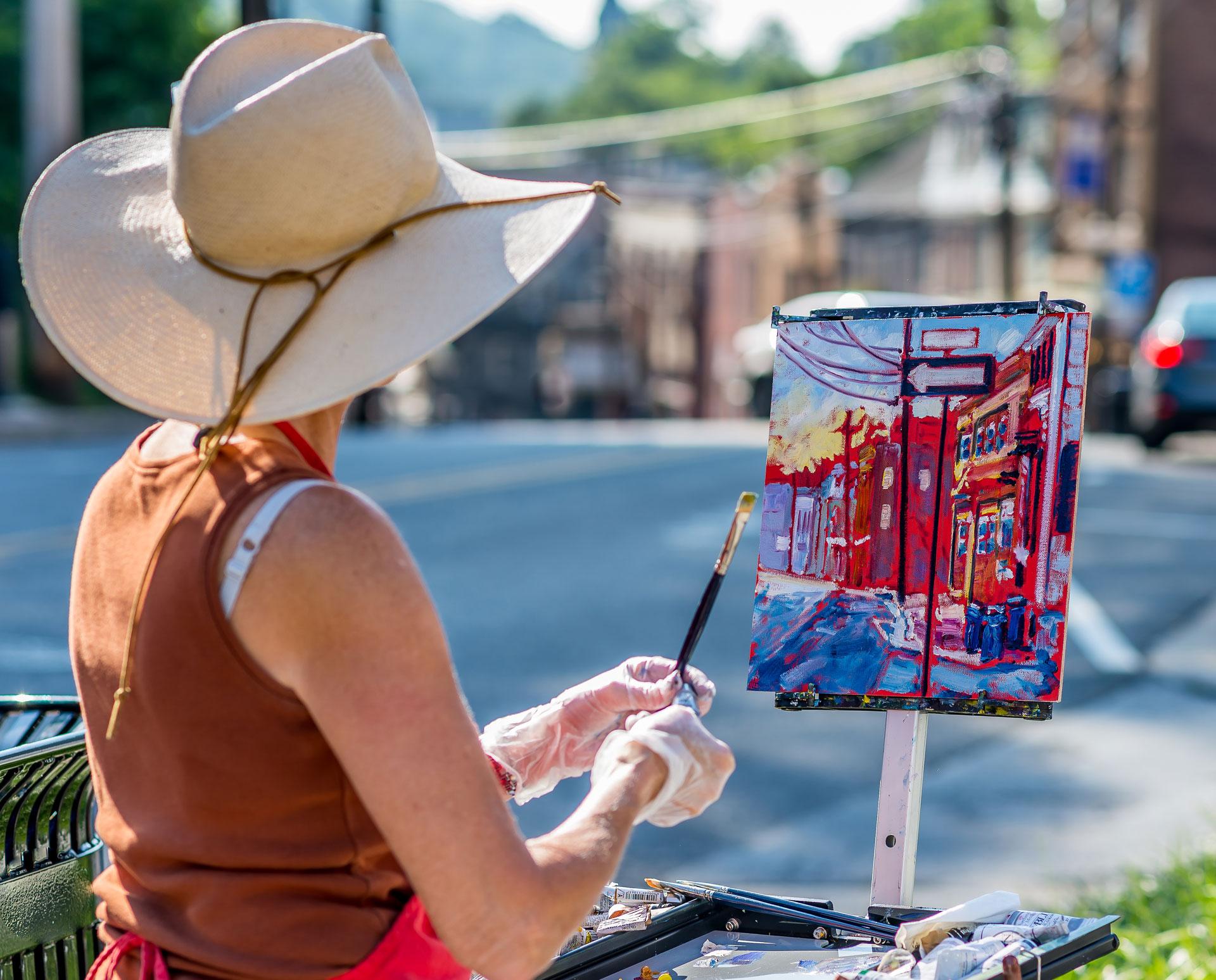 Artist Caroline Jasper at Paint It! Ellicott City 2016