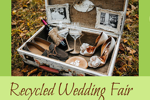 Case with wedding shoes, frames, wine glasses