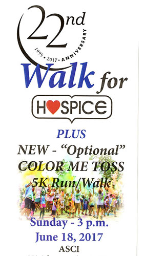 Walk For Hospice with Color Me Toss flyer