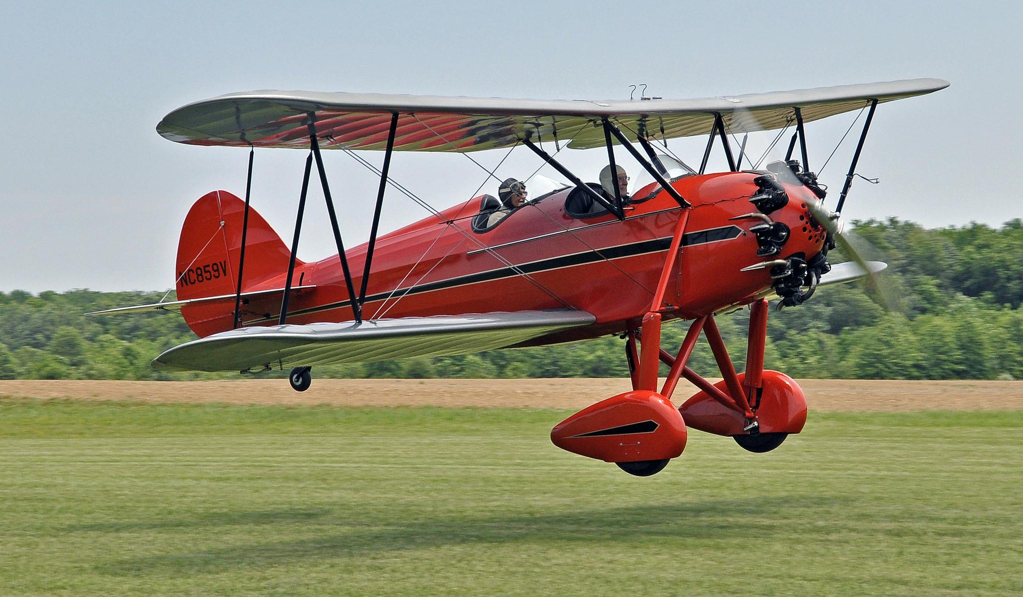 1930 WACO Biplane takes off from Massey Aerodrome