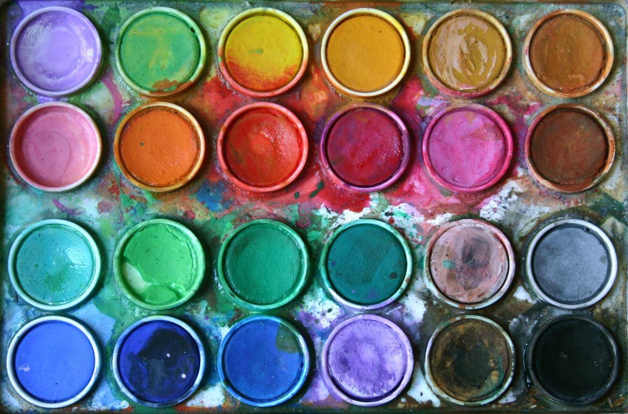 Watercolors in paint pots