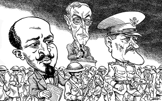 W.E.B. DuBois; Pres. Woodrow Wilson; Gen. John Pershing.
