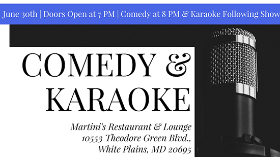 Comedy and Karaoke for a Cause event flyer