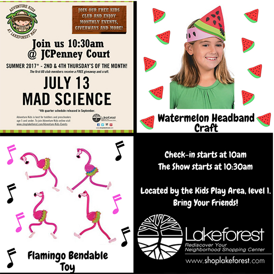 Mad Science at Lakeforest Mall flyer