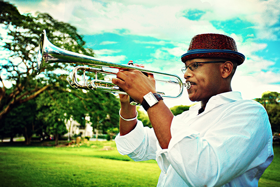 Photo of Etienne Charles with his trumpet