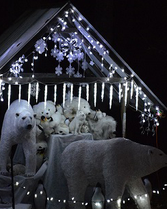 image of polar bear display in holiday lights