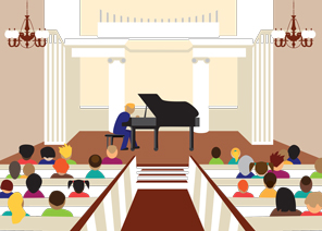 Drawing of pianist performing at Second Presbyterian