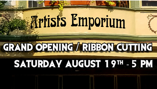 Photo of the Artists' Emporium Grand Opening poster
