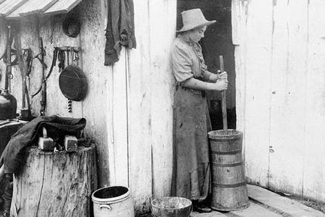 Photo of old-fashioned butter making