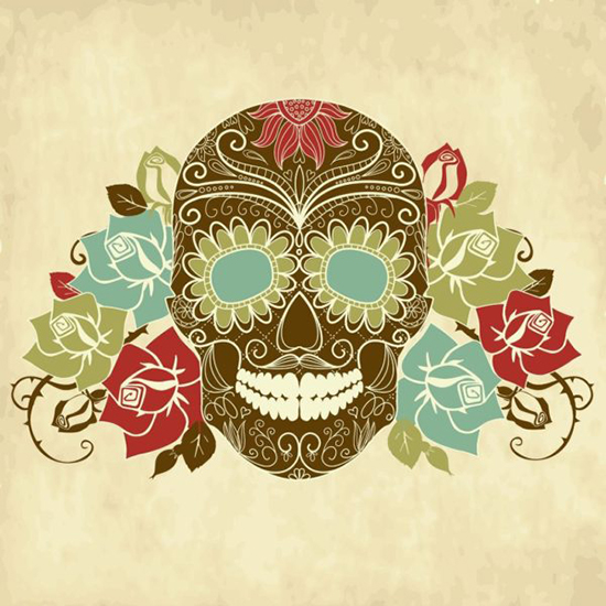 Dia de los Muertos artwork with skull and flowers