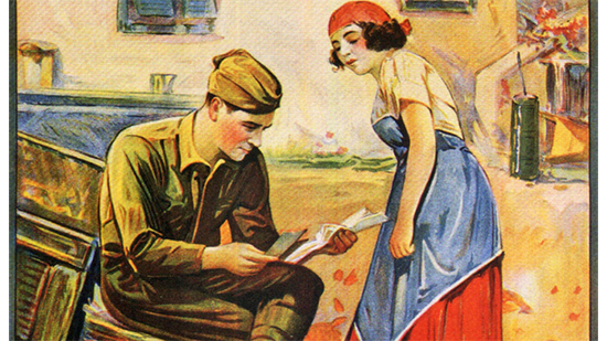 Color Drawing of a soldier and a woman
