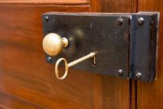 historic door lock with key