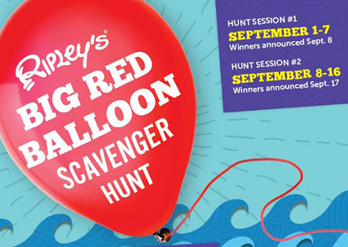 Flyer for Ripley's Big Red Balloon Scavenger Hunt
