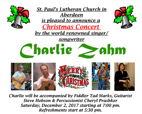 Christmas Concert featuring Charlie Zahm flyer