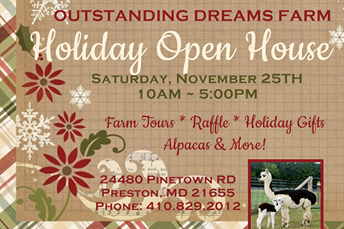 Holiday Open House Outstanding Dreams Farm poster
