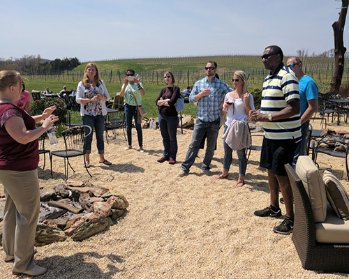 Black Ankle Vineyard being toured