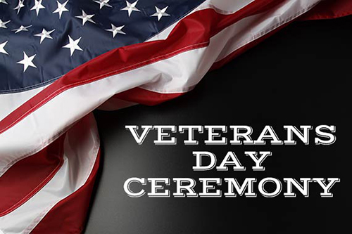 Veterans Day Ceremony Graphic with Flag