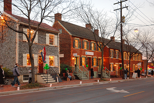 Holiday Lights on a street in Frederick