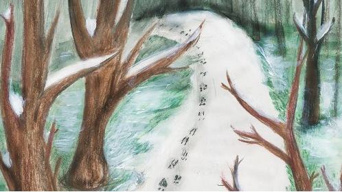 drawing of winter landscape