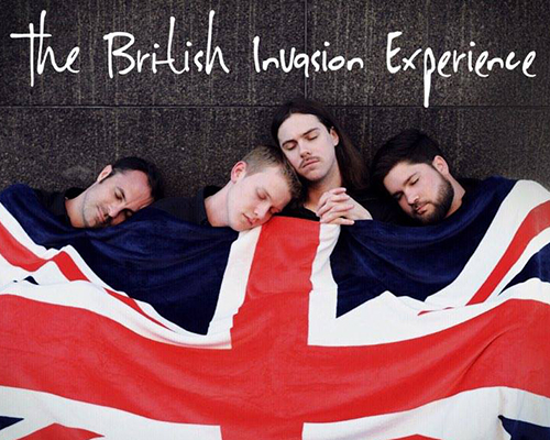 Four young men sleeping under British Flag